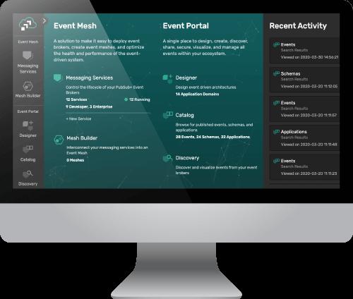 Captura de pantalla del panel de control de PubSub+ Event Portal