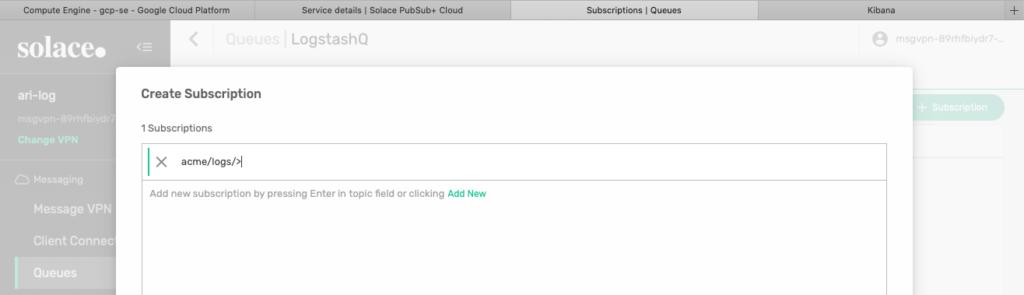 Figure 14 Add acme/logs/> subscription