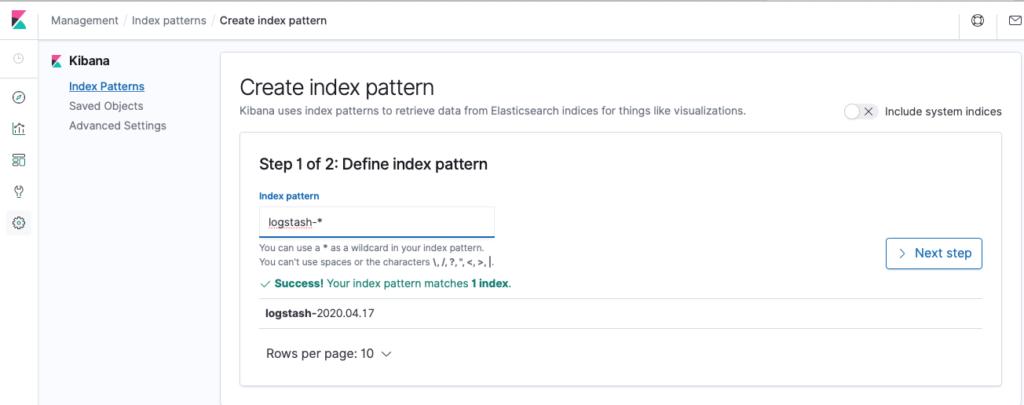Figure 21 Create a new index pattern in Kibana