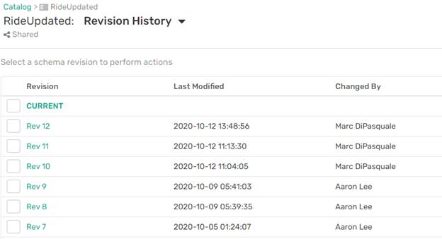 Event Portal のリビジョン履歴