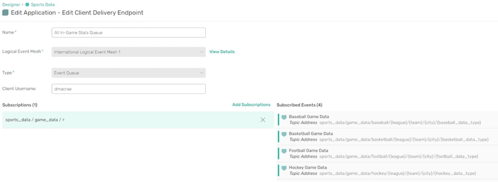 PubSub+ Event Portal edit client delivery endpoint